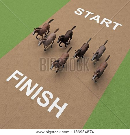 running group of horses on sand. 3D rendering