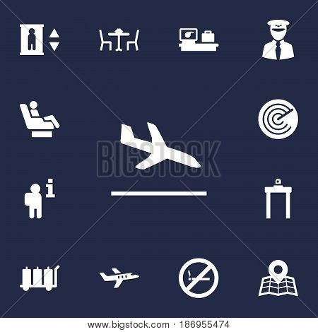 Set Of 13 Aircraft Icons Set.Collection Of Restaurant, Location, Aircraft And Other Elements.