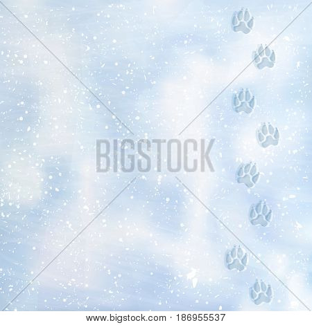 Animal foot prints to a snowy. Tracks in the snow. Dog footprints in the snow. Texture of snow surface. Vector. Background.