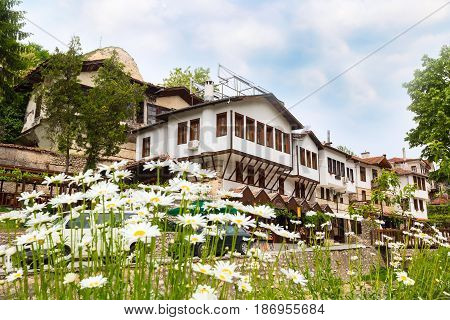 view with traditional bulgarian houses of Revival period and flowers in Melnik town, Bulgaria