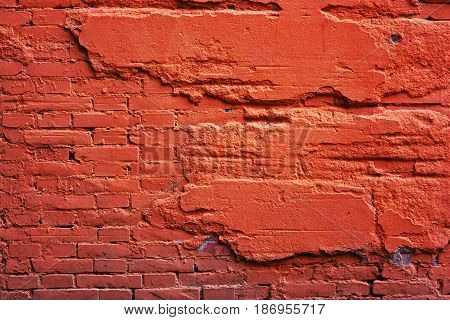 A Wall Of Red Brick, And A Destroyed Cement.