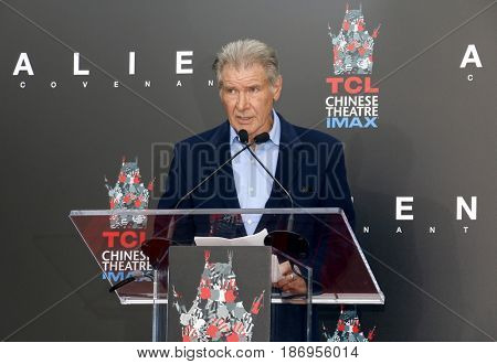 Harrison Ford at Sir Ridley Scott Hand And Footprint Ceremony held at the TCL Chinese Theatre IMAX in Hollywood, USA on May 17, 2017.