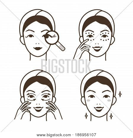 Steps how to apply anti-aging eye cream. Vector isolated illustrations set.