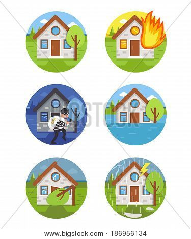 Different house accident scenes. Vector flat icons. Insurance infographic elements.