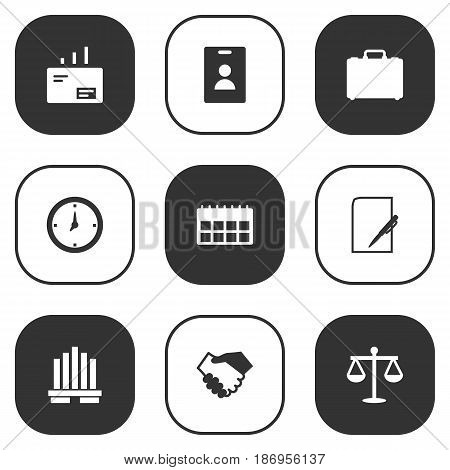 Set Of 9 Employment Icons Set.Collection Of Pen, Balance, Time And Other Elements.