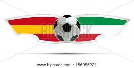 Realistic soccer ball or football on Itali and Spain flag background. Vector illustration