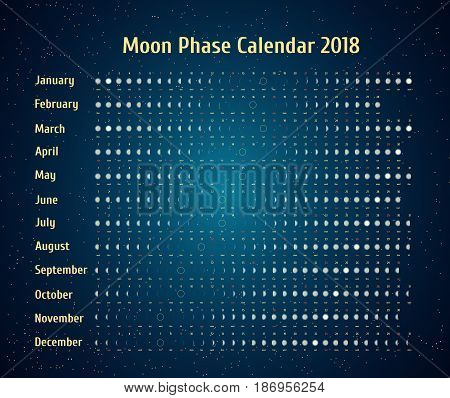 Vector astrological calendar for 2018. Moon phase calendar in the night starry sky. Creative lunar calendar with dates and days of the week on a white background ideas for your design.