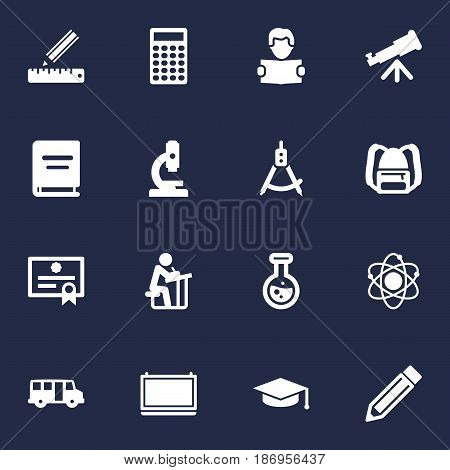 Set Of 16 Education Icons Set.Collection Of Blackboard, Drawing Tool, Molecule And Other Elements.