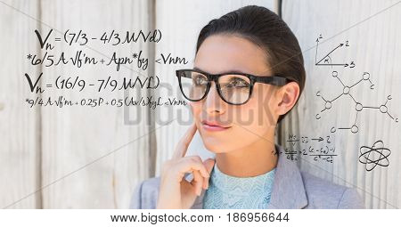 Digital composite of Thoughtful businesswoman with math equation