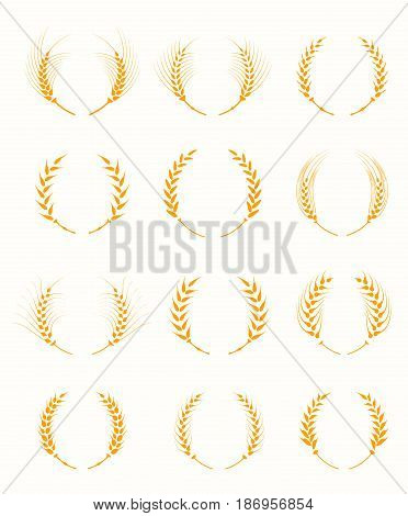 Agricultural symbols isolated on white background. Agriculture grain, organic plant, bread food. Design elements for bread packaging. Set of silhouette circular laurel foliate and wheat wreaths.
