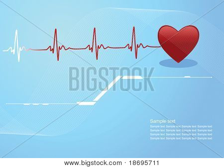 Editable vector background with space for your text - heart and heartbeat symbol
