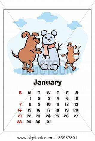 Wall calendar for January,  2018 with funny dogs. Fun children's illustration in cartoon style. Colorful vector background. Vertical orientation. Week starts Sunday.