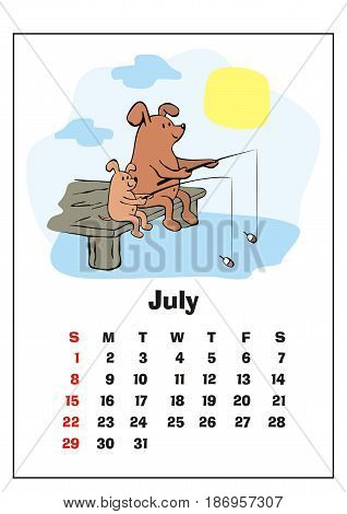 Wall calendar for  July,  2018 with funny dogs. Fun children's illustration in cartoon style. Colorful vector background. Vertical orientation. Week starts Sunday.