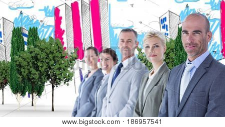 Digital composite of Digital composite image of business people standing in drawn city