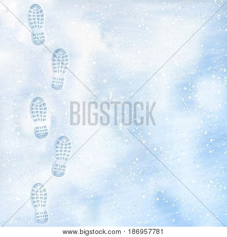 Clear deep footprints on white winter snow of a pair of boots. Track in snow. Overhead view. Texture of snow surface. Vector illustration. Background.