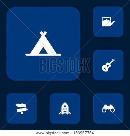 Set Of 6 Camping Icons Set.Collection Of Signpost, Kettle, Inflatable Raft And Other Elements.