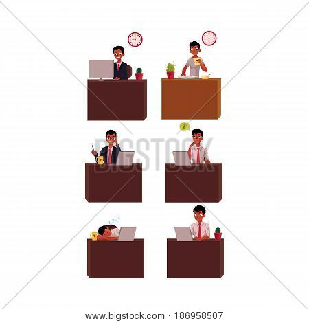 Black, African American businessman working day, office, business situations, cartoon vector illustration isolated on white background. Black, African businessman at office