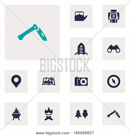 Set Of 12 Adventure Icons Set.Collection Of Jackknife, Location, Campfire And Other Elements.