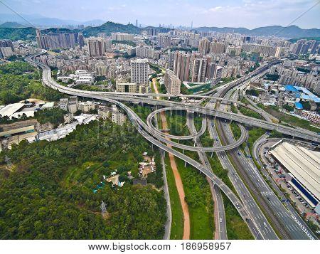 Aerial photography bird-eye view of City viaduct bridge road streetscape landscape