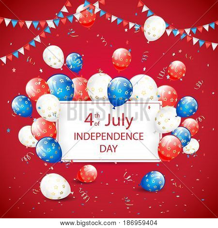 USA Independence day. Theme 4th of july with white card, flying colorful balloons, pennants and confetti on red background, illustration.