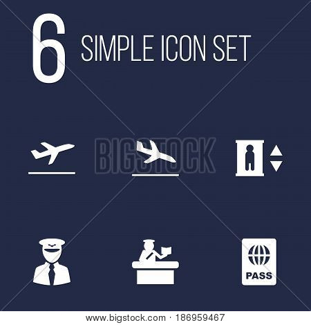 Set Of 6 Airplane Icons Set.Collection Of Aviator, Letdown, Lift And Other Elements.