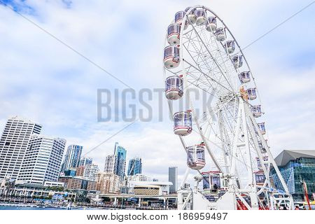 Ferris Wheel in the city taken at Darling Harbour in Sydney Australia on 4 July 2016