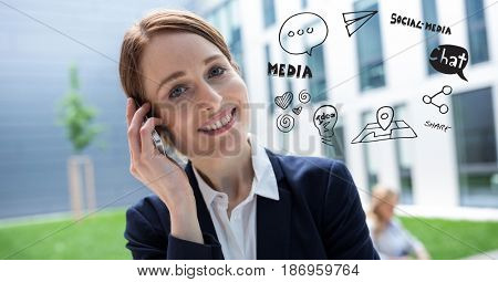 Digital composite of Digital composite image of businesswoman using phone by various icons against building