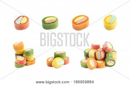 Set of multiple licorice candies compositions isolated over the white background, set of multiple different foreshortenings