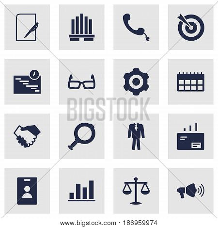 Set Of 16 Employment Icons Set.Collection Of Mechanism, Clothes, Pen And Other Elements.