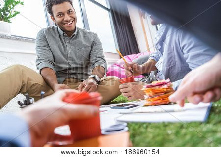 low angle view of business people working on new business plan business teamwork