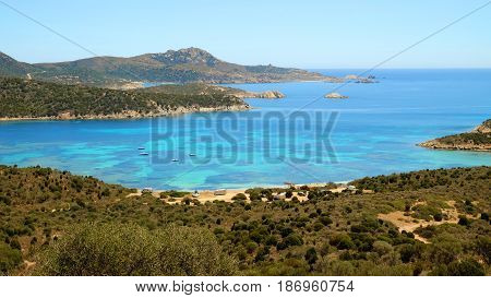 View on the lagoon in Capo Malfatano on the South of Sardinia Italy.