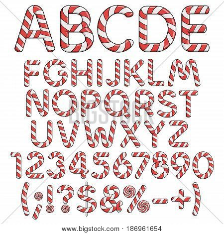 Alphabet, numbers and signs from red candies. Isolated colored vector objects on white background.