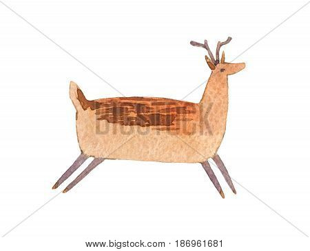 Watercolor colorful fat deer isolated on white background.