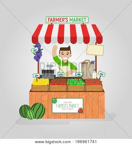 Local market farmer selling diary, fruits, vegetables on his stall with cashbox. Realistic flat vector illustration isolated on white background.