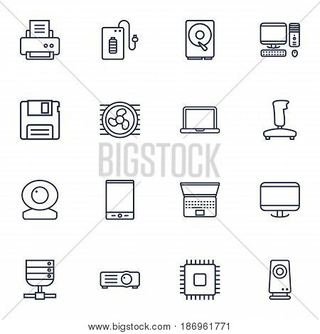 Set Of 16 Notebook Outline Icons Set.Collection Of Floppy, Speaker, Powerbank And Other Elements.