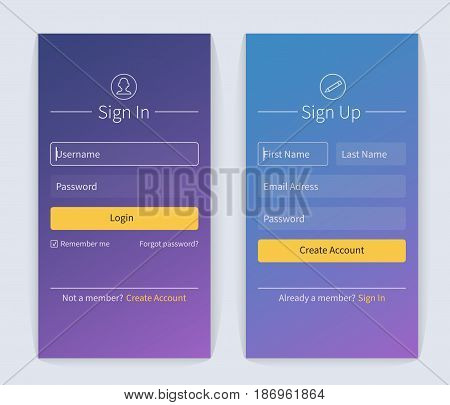 Sign in and sign up form page. Website ui vector elements.
