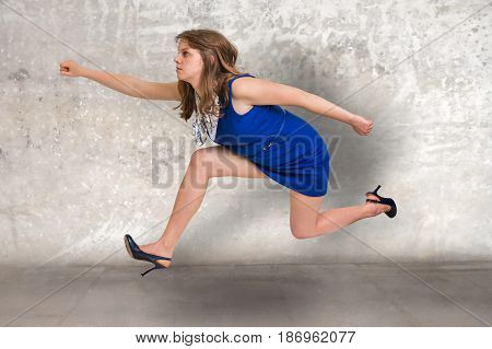 Small Businesswoman Running Away