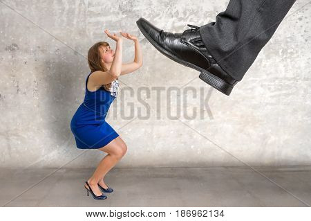 Scared Small Business Woman Under Boss Pressure