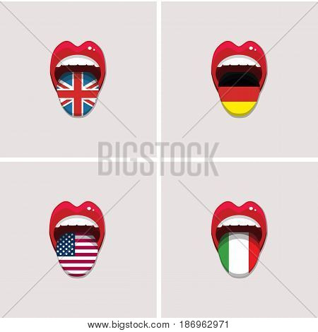 Set of vector tongues with flags of different countries. English, German, Italian, USA vector international flag icons. Language concept. Vector illustration. EPS 10