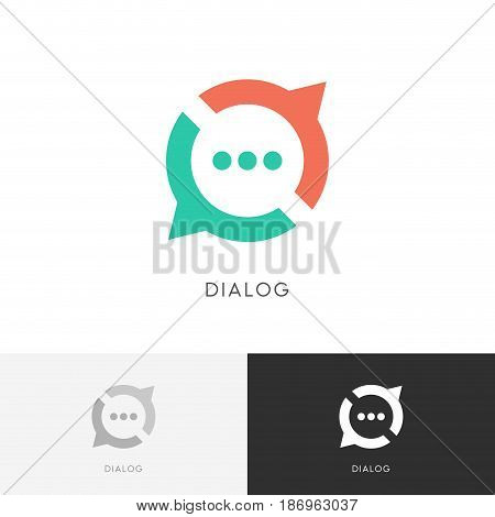 Dialog cycle logo - colored chat symbol. Conversation, discussion and talk vector icon.