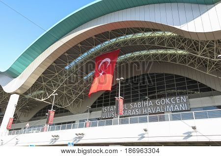 ISTANBUL TURKEY - MAY 20 2016: Exterior of the Sabiha Gokcen International Airport (SAW) in Istanbul Turkey. More than 32 million tourists visit Turkey each year.