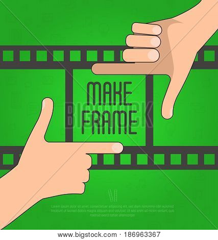 Hands make a rectangular frame with film on the background. Concept for photographer, filmmaker, cameraman. Flat vector illustration,