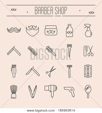 Set of minimalistic barber shop icons for logo or web site. Shaving accessories collection. Vector illustration in thin line style.