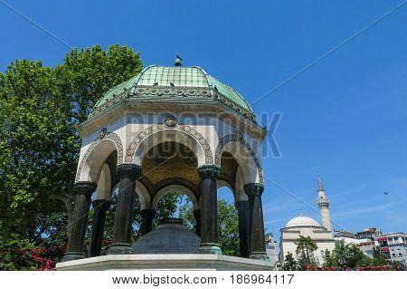 Istanbul German Fountain or Alman Çeşmesi in Sultán Ahmed Park. More than 32 million tourists visit Turkey each year.
