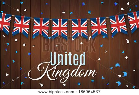 Colorful flag garlands of Great Britain, United Kingdom with confetti on wooden background. Festive background for national, formal and informal holidays in the UK. Vector illustration. EPS 10