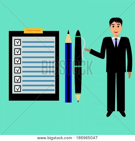 Happy businessman points to checklist pen and pencil. To-do list and planning project with office supplies. Flat icon modern design style illustration concept.