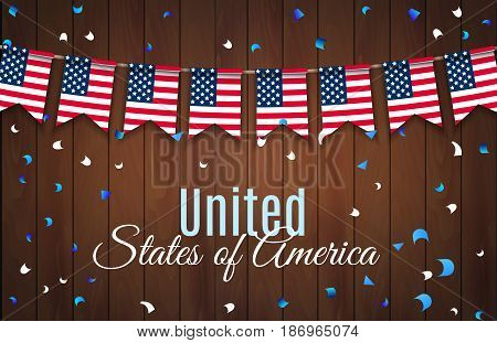 Colorful chain, garland, bunting of USA flags decoration for July 4 Independence Day.  Patriotic Symbolic Decoration for Holiday in America with confetti on wooden background. Vector illustration