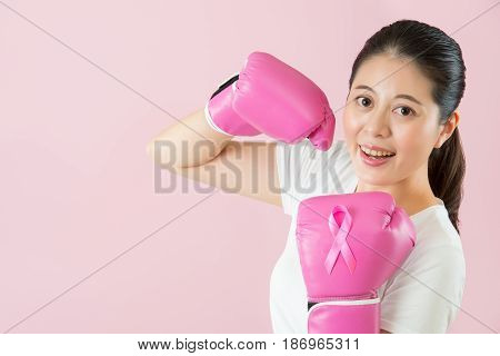 Confidence Woman Wearing Pink Boxing Gloves