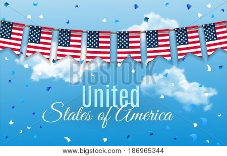 Colorful chain, garland, bunting of USA flags decoration for July 4 Independence Day.  Patriotic Symbolic Decoration for Holiday in America with confetti on blue sky with clouds background. Vector