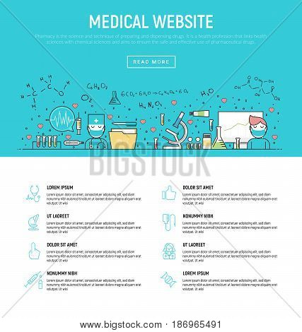 Modern vector illustration concept of medical research and healthcare. Thin line flat design banners for website and mobile website, easy to use and highly customizable.